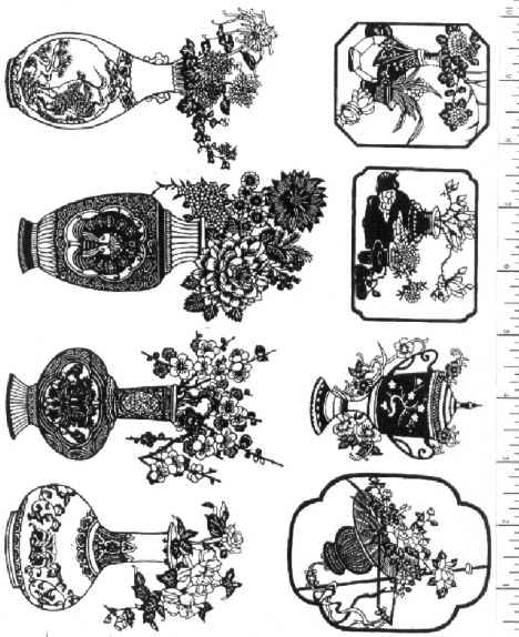 Jim Stephan Rubber Ink Art - 12: Chinese Vases & Flowers